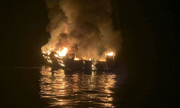 A dive boat is engulfed in flames after a deadly fire broke out aboard the commercial scuba diving vessel off the Southern California Coast. (Santa Barbara County Fire Department via AP, File)