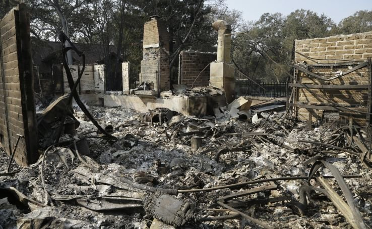 Remains of home destroyed by wildfire.
