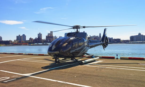 Helicopter taking off from NYC Pier 6