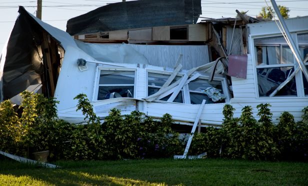 mobile home damaged by Hurricane Irma
