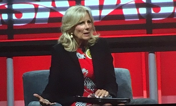 During her keynote session at IASA 2018, Dr. Jill Biden (seen here) reflected on grading college term papers while traveling with her husband on Air Force during when he served as the 47th Vice President of the United States, and that even though she works from a community college cubicle now instead of a marble-floored federal building, she still strives to 'make a difference in people's lives.' (Photo by Elana Ashanti Jefferson)