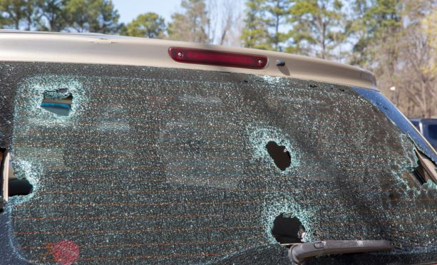 Hail damaged SUV back window
