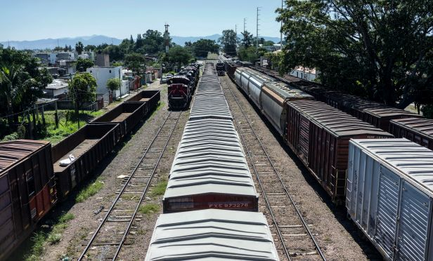 Trains on tracks in Mexico