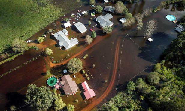 Drone image of Hurricane Florence flooding