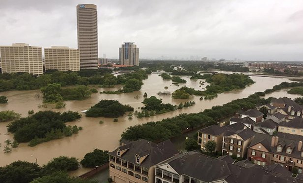 Flooded streets in Midland Texas after Hurricane Harvey