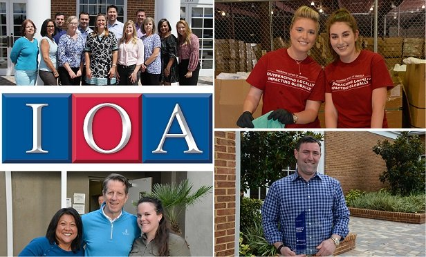 The Insurance Office of America (IOA) is one of three recipients of National Underwriter's 2018 Agency of the Year Award. Clockwise from top left: IOA's Risk Services Team; IOA's 2018 Volunteer Program; CEO Heath Ritenour; and the 2017 Thanksgiving Turkey Donation.
