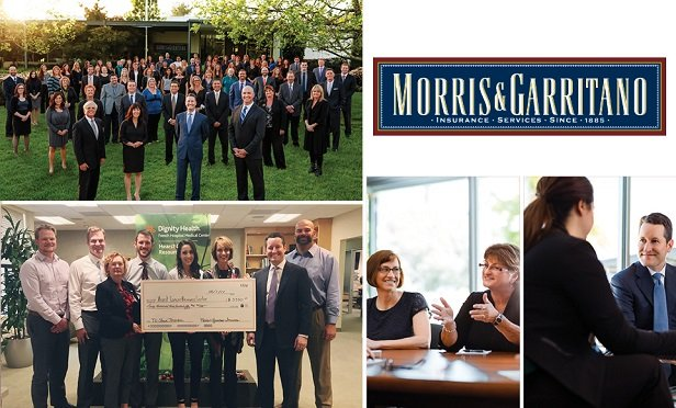 (Clockwise from top left) Morris & Garritano's staff in front of their San Luis Obispo office; CEO and CL Risk Advisor Brendan Morris; Claims Advocate Heather Ross is pictured with Workers' Compensation Claims Analyst Mary Jean Collins; The agency's No-Shave November campaign raised funds for the Hearst Cancer Resource Center.