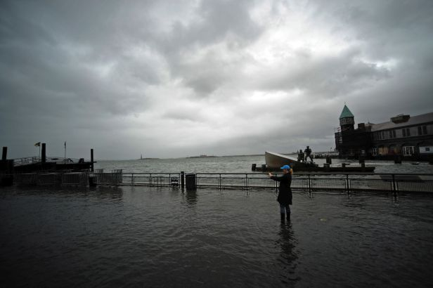 flooded area of Battery Park in Manhattan