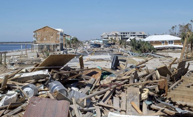debris and rubble from Hurricane Michael