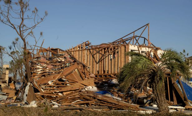 A house stands damaged after Hurricane Michael