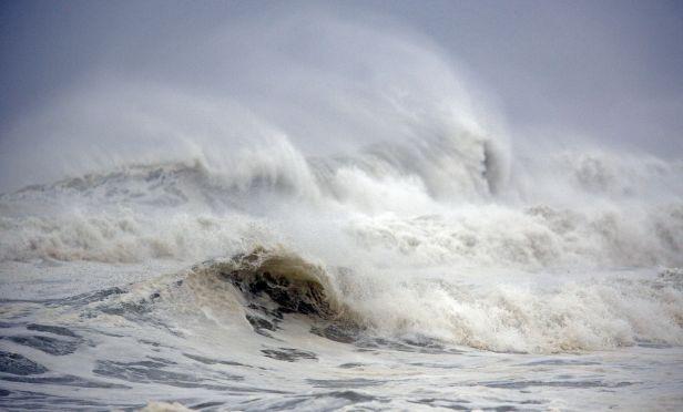 Waves break ahead of Hurricane Michael in Panama City Beach, Florida