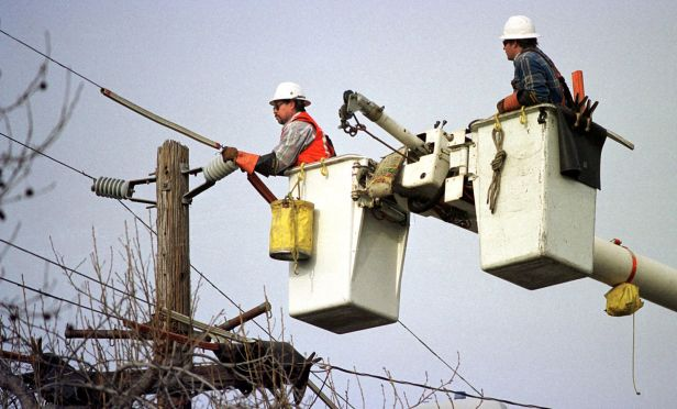 Power line workers