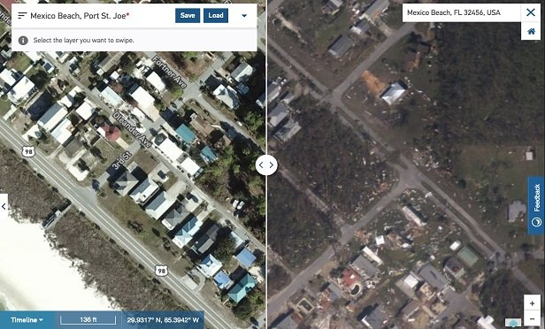 Assessing hurricane damage from the air.