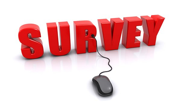 The word survey in red letters with a computer mouse