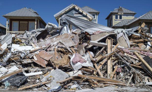 Hurricane debris and rubble