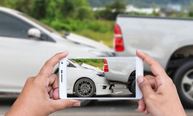 Smartphone photo of auto crash