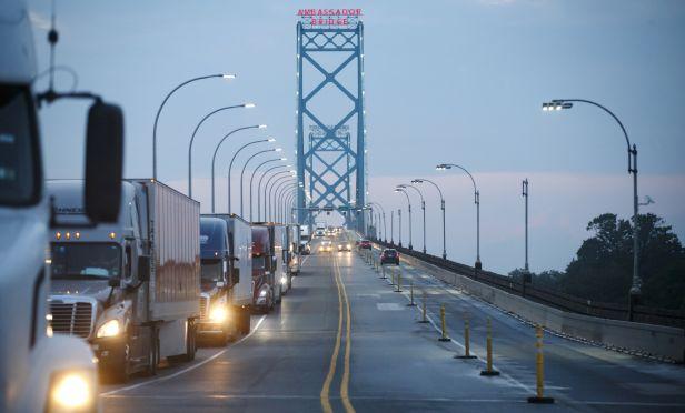 Commercial trucks at border