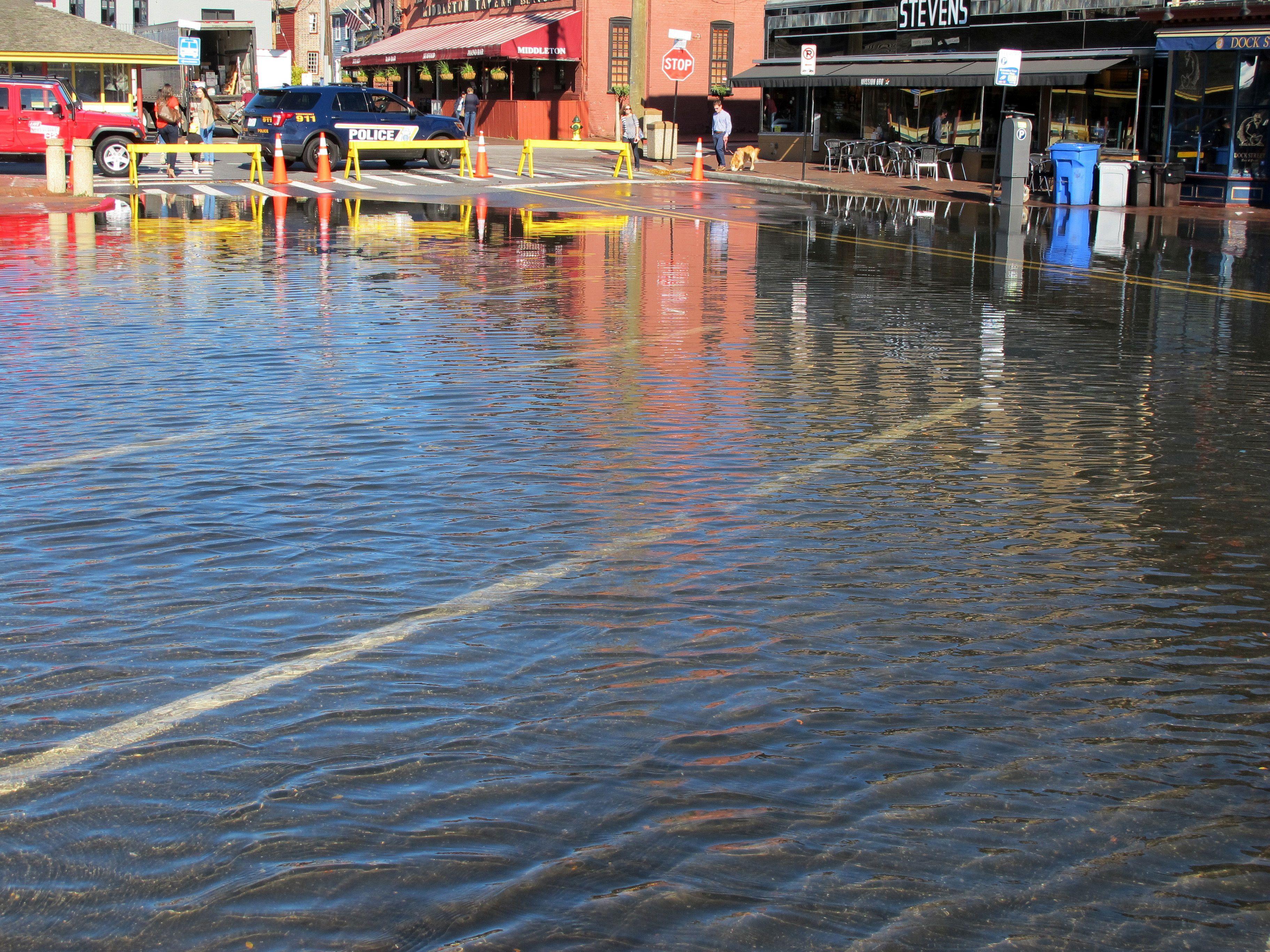 Flooded street.