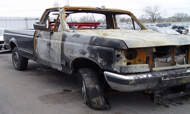 Burned out truck.