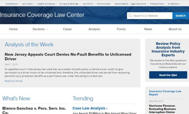 Insurance Coverage Law Center website.