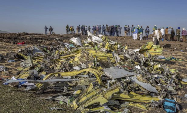 Wreckage is piled at the crash scene of an Ethiopian Airlines flight crash