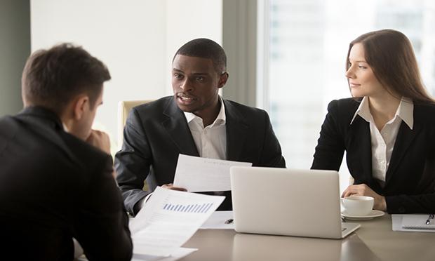 Business meeting Caucasian man, Caucasian woman,