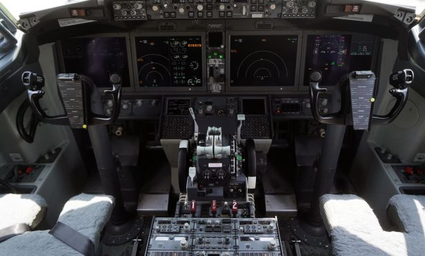 The cockpit of a grounded Lion Air Boeing Co. 737 Max 8 aircraft.