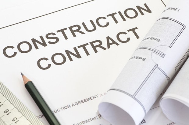 Construction contract with pen