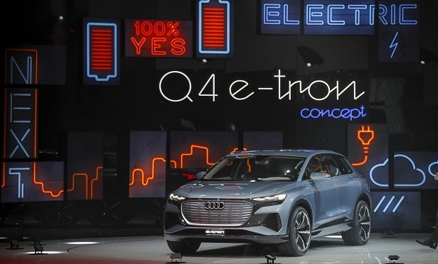 An Audi Q4 e-tron concept electric sport utility vehicle (SUV), produced by Audi AG, sits on display on the opening day of the 89th Geneva International Motor Show in Geneva, Switzerland, on Tuesday, March 5, 2019. (Photo: Stefan Wermuth/Bloomberg)