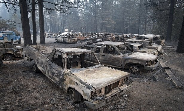Burned-out vehicles in Paradise, California, in November. (Photo: David Paul Morris/Bloomberg)