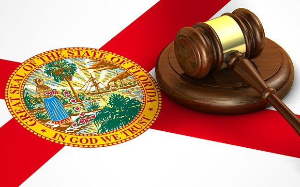 Seal of state of Florida with gavel