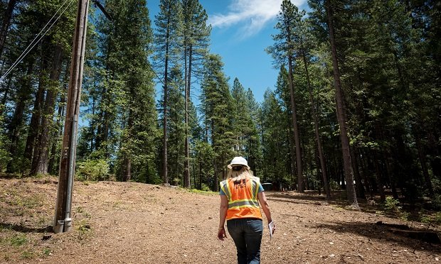 A Pacific Gas & Electric Co. (PG&E) employee walks past Pacific Gas & Electric Co. (PG&E) power lines in Nevada City, California, U.S., on Wednesday, June 12, 2019. (Photo: David Paul Morris/Bloomberg)