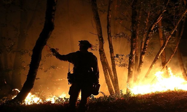 CalFire firefighter Brandon Tolp monitors a firing operation while battling the Tubbs Fire on October 12, 2017 near Calistoga, California. At least thirty one people have died in wildfires that have burned tens of thousands of acres and destroyed over 3,500 homes and businesses in several Northern California counties. (Photo: Justin Sullivan/Getty Images)