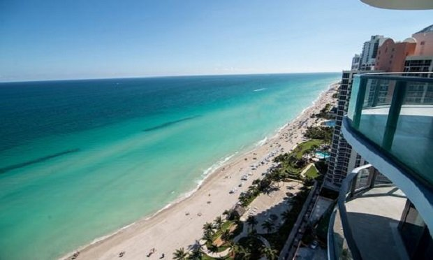Views of the ocean and beach are seen from a luxury condominium in Sunny Isles Beach., Fla. (Photo: Christina Mendenhall/Bloomberg)