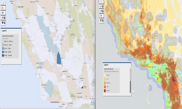 The above screenshots show RedZone's new models for use in portfolio-level analysis. On the left is RedZone's burn probability layer. When combined with the image on the right, which is RedZone's hazard control zones, you can develop a firmer understanding of portfolio composition when it comes to accumulations and likeliness to burn. (Image provided by SpatialKey)