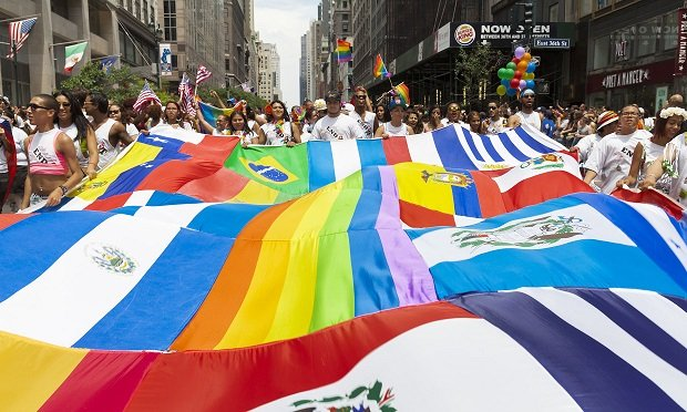 Latin American flags during annual 43rd Pride Parade on Fifth Avenue in Manhattan on June 30, 2013, in New York City (Photo: Shutterstock)