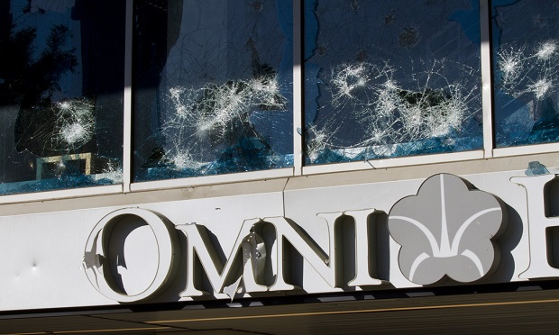 The Omni Hotel in Atlanta was damaged after a night of violent protests, rioting and looting on Friday, May 29, 2020. (John Disney for ALM Media)