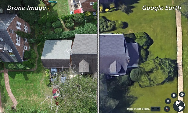 Side-by-side comparison of drone image and Google earth image.