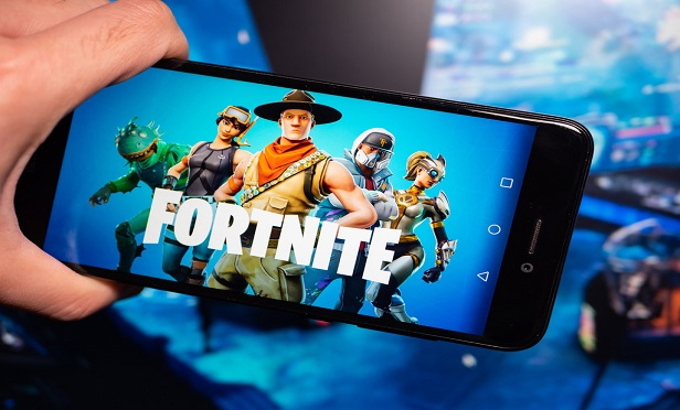Fortnite game image on a mobile device.