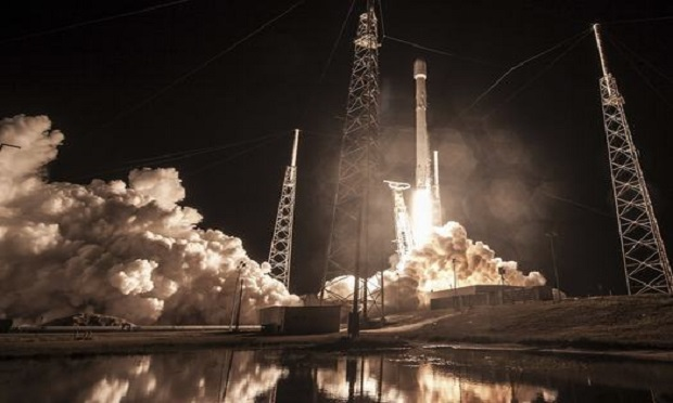 This Sunday, Jan. 7, 2019, photo shows the launch of SpaceX's Falcon 9 rocket at Cape Canaveral, Fla. (SpaceX via AP)
