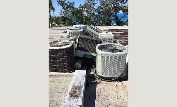 Condensing units on HVAC split-systems have multiple components prone to hurricane damage. (Photo Credit: HVACi)