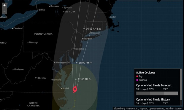 Tropical Storm Fay (Photo: Bloomberg)