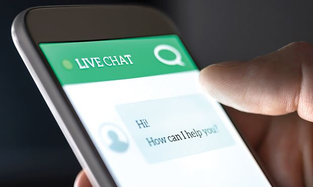 Close up of a chatbot screen on a cell phone.