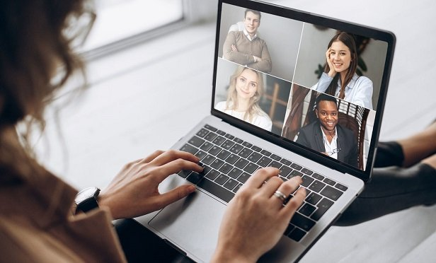 Woman on video conference.