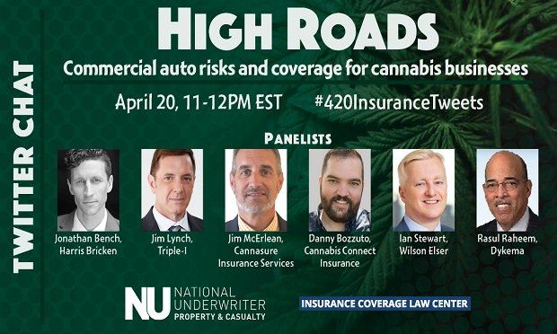 Join PC360 and our sister site Insurance Coverage Law Center for a Twitter Chat on 4/20 at 11 am ET that will discuss emerging commercial auto issues in the cannabis industry.