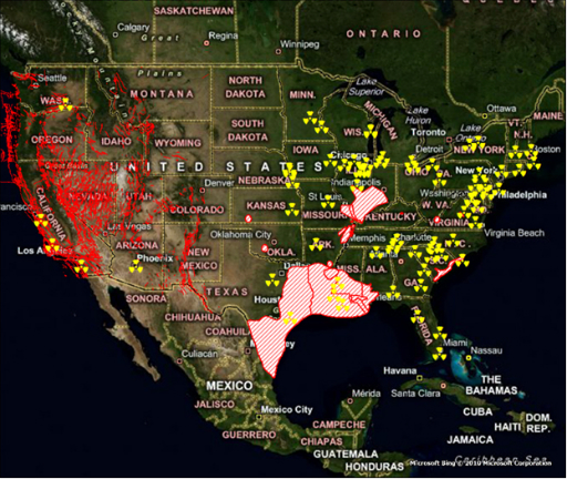 Risk Modeler Examines Proximity Of Nuclear Plants Toxic Sites To - Fault lines in us map