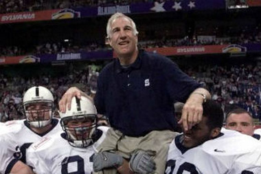 Former Penn State defensive coordinator Jerry Sandusky at at the Alamo Bowl in 1999. (AP Photo/Eric Gay)