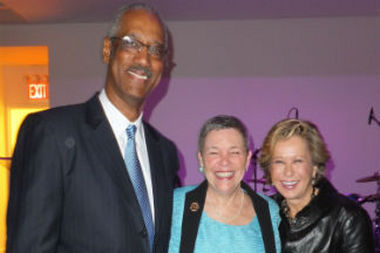 From Left: Walter Bell, Chairman Swiss Re America; Anne H. Hastings, CEO Sevis Finansye Fonkoze; Yeardley Smith (NU/Mark E. Ruquet)