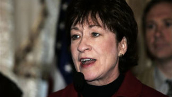 U.S. Sen. Susan Collin, R-Maine, speaks during a news conference in the U.S. embassy in Baghdad in 2006 (AP Photo/Sabah Arar, Pool)