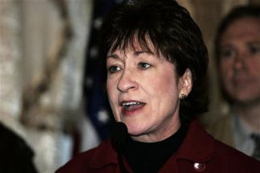 U.S. Sen. Susan Collin, R-Maine, speaks during a news conference in the U.S. embassy in Baghdad in 2006 (AP Photo/Sabah Arar, Pool)